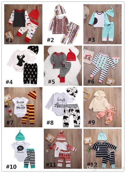 Baby Weihnachten Pyjamas Kid Kleidung Set Kleinkind Outfit Baby Boutique Jungen Mädchen Kleidung Rentier Weihnachten Strampler Hemd Hosen Hut Heißer Verkauf