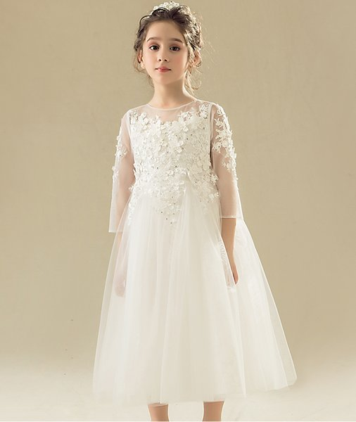 Jewel ankle length lace dress soft tulle and organza long sleeve or sleeveless beautiful Flower Girls' Dresses
