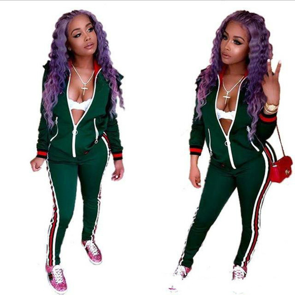 2018 Two Piece Set Autumn Winter Zipper Jacket Top And Side Striped Pants Green Fitness Outfit Casual Suits Women Tracksuit
