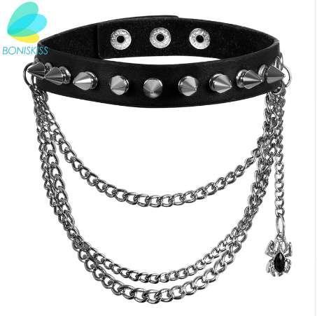 Boniskiss Multilayer Chain Punk Rock Gothic Women Men Leather Silver Spike Rivet Stud Collar Choker Necklace Statement Jewelry