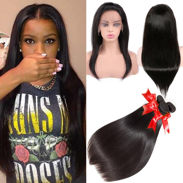 360 Lace Frontal Brazilian Hair Bundles with Closure Human Hair Weave Lace Closure Straight Hair Extensions Weaves with 360 Lace Closure