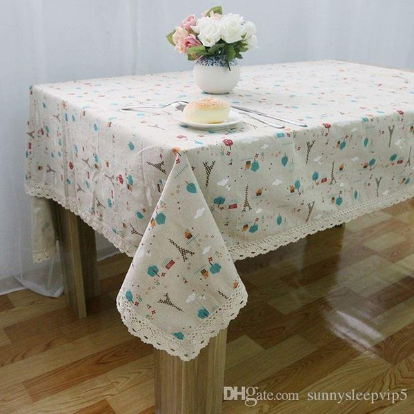 European Style Linen Table Cloth Country Flower Tower Printed Multifunctional Rectangle Table Cover with Lace Edge ZB-25