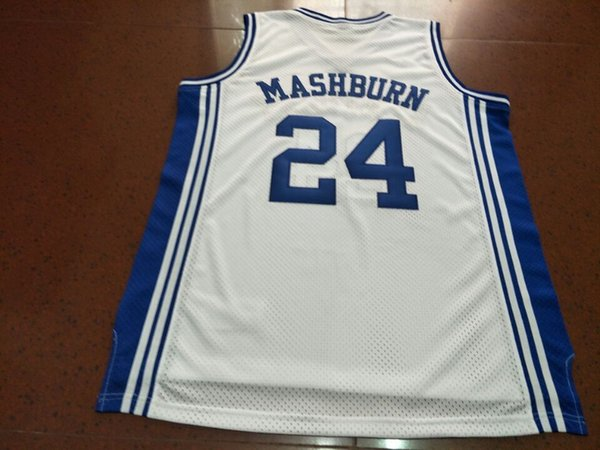 Men #24 Jamal Mashburn Kentucky Wildcats Mesh fabric Full embroidery College jersey Size S-4XL or custom any name or number College jersey