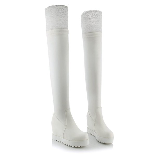 Free Shipping Womens fashion over the knee wedge round toe lace platform zipper winter cheap Thigh-high long boots soft leather medium 8803