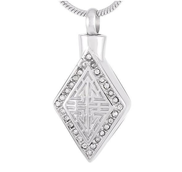 Wholesale custom square diamond necklace to commemorate lover dog cremation funeral urn pop fashion pendant man woman pendant