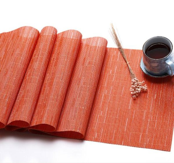 30x180cm Vinyl and Polyester Solid Table Runner PVC Table Cloth Heat Insulation Table Mat