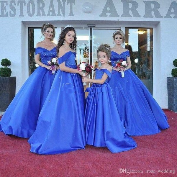 Royal Blue Ball Gown Prom Dress Long Sexy Off Shoulder Beaded Floor Length Satin Plus Size Dresses Party Evening Gowns Custom