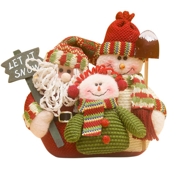 Linda navidad muñeco de nieve de santa claus ornamento familia retrato franela muñecas de trapo para regalos de los niños feliz navidad 2018