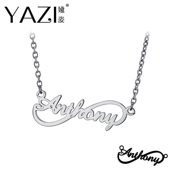 YAZI nome personalizzato collana in argento sterling 925 ciondolo infinito inciso singolo nome personalizzato memoria regalo per amico
