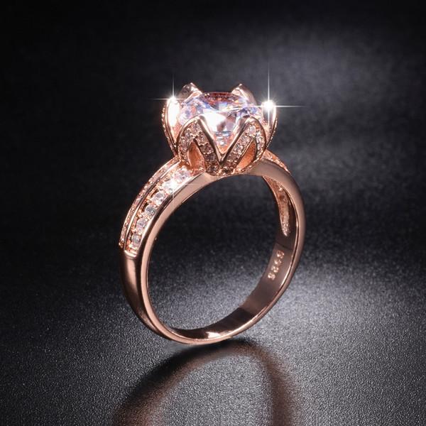 X Förderung !!! 8 $ Echt Solide 100% 925 Silber rose gold Lotus blume Ringe Hochzeit Schmuck für Frauen 2ct Simulierten Diamant Ring
