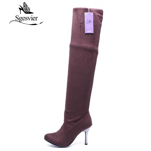 High Heels Women Boots Over the Knee High Boots Party Sexy Lady Fashion Winter Woman Shoes Botas Big Size 34-43 AA235