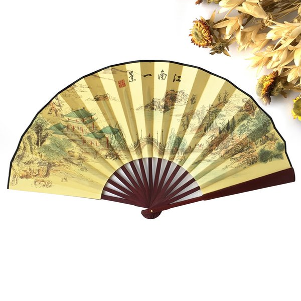 Free Shipping 100pcs Polyester Wood Hand Fans Chinese Vintage Fancy Dress Costume Men's Decorations Craft Supplies Gift Party
