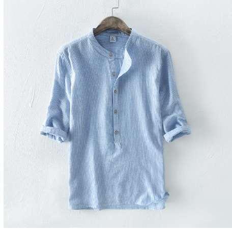 Neuankömmlinge stehen Kragen drei Viertel Ärmel gestreiften Leinenhemd Männer khaki blauen Kaffee Herren Sommer kausalen Baumwollhemden