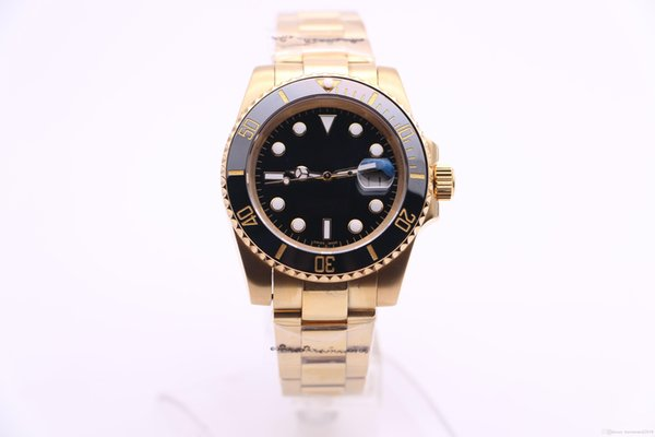 Classic style luxury brand 18K gold strap, black rotary ceramic GD 2836 automatic movement, sapphire men's sport diving watch