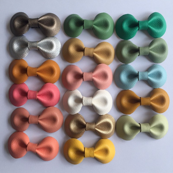 17 Colors Handmade Lovely Baby Hairgrips Euro Style Small Bow Leather Hairpins For Little Girls Wrapped Safety Hair Clips Kids