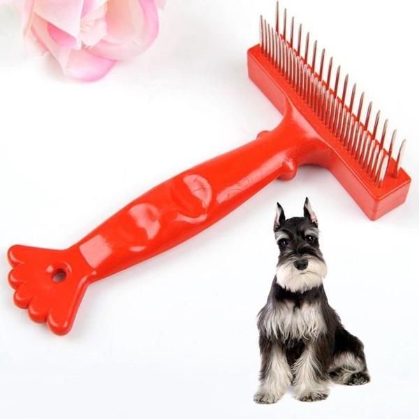 Pet Cat Dog Double Row Rake Comb Red Shrimp tail Long Short Hair Shedding Remove Grooming Rake Comb Brush 60pcs AAA764