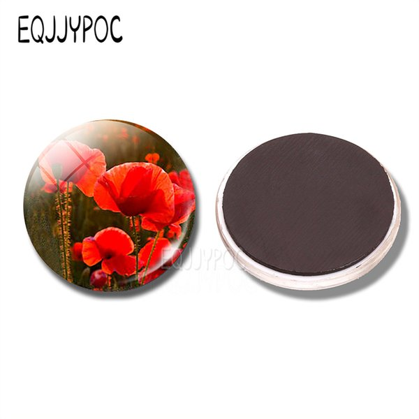 Red Poppy 30MM Fridge Magnet Red Poppies Floral Flower Glass Cabochon Magnetic Refrigerator Stickers Note Holder Home Decoration