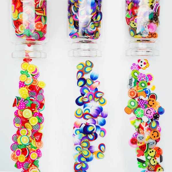 Fimo Canes 3D Fimo Stickers for Nail Art Decorations Polymer Clay Fruits for Nails Feather Slices Clay Canes MJZ2086