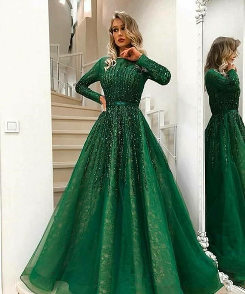 2018 Sexy Arabic Dark Green Long Sleeves Lace A Line Evening Dresses Beaded Stones Top Tulle Floor Length Prom Party Dresses Plus Size