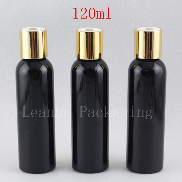 120ml leere runde schwarze Flüssigseifen-Lotions-kosmetische Flaschen-Behälter-Goldaluminiumdisketten-Spitzen-Kappe, Metallkappen-Lotions-Flaschen 4oz