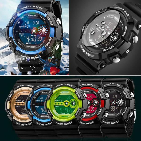 Berühmte Luxusmarke Mens Sportuhr Edelstahl LED Digital Datum Alarm Wasserdichte Sport Quarzuhr dropshipping