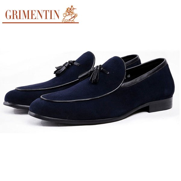 GRIMENTIN Newest Hot Sale Brand Mens Loafers Suede Leather Blue Tassel Slip-On Male Casual Shoes Italian Fashion Business Office Men Shoes