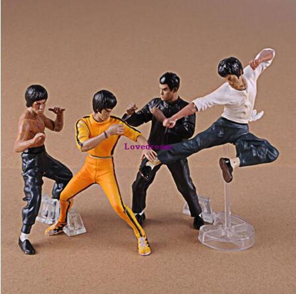 Venta caliente 4 unids / set fresco Bruce Lee Kung Fu figuras de acción modelo de juguetes juguetes regalo del teléfono del cabrito