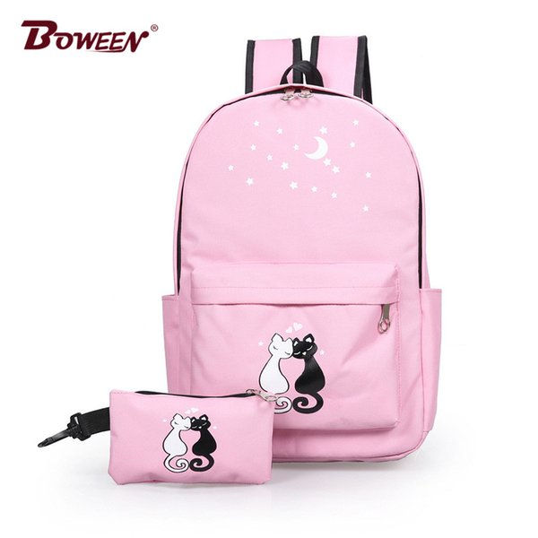 printing cute cat nylon women backpack schoolbag for girls teenage high school back pack female college wind casual bagpack new