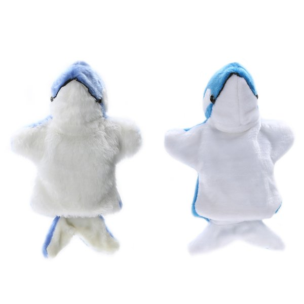 best selling 1 Pc Cute Dolphin Hand Plush Baby Kids Developmental Plush Doll Toy Baby Child Hand Puppet Kids Festival Gift