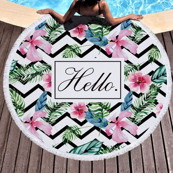 Round beach towel tropical deep forest tree microfiber fringes can be used as picnic tablecloth Home Textile