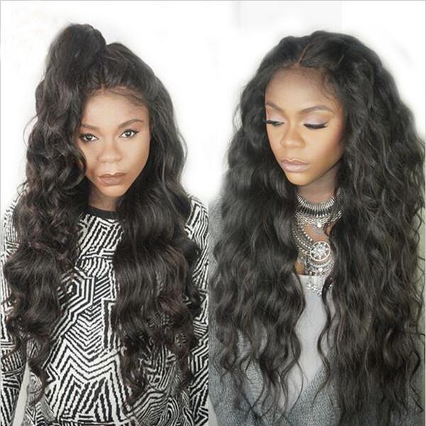 Natural Olhando Kinky curly Full Lace Wigs Com Linha Profunda Onda Profunda Glueless Brasileiro Virgem Do Laço Do Cabelo Humano Frente Perucas Com nós Descorados