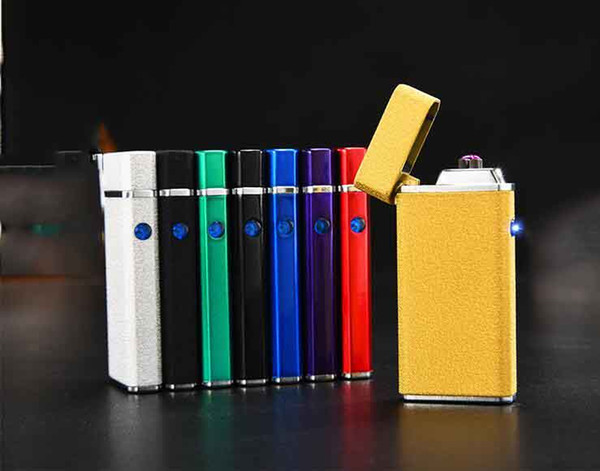 Newest Double Arc Lighter With Light USB Windproof Pulse Cigarette Rechargeable Electronic Lighters For Smoking Tools 8 color