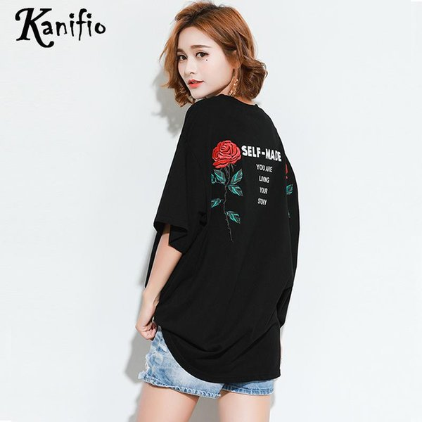 Kanifio Brand Plus Size Women Fashion Rose Embroidered Tops Tees Ladies Casual Shirts Female Loose Black T-Shirt Tunic Blusa 6XL