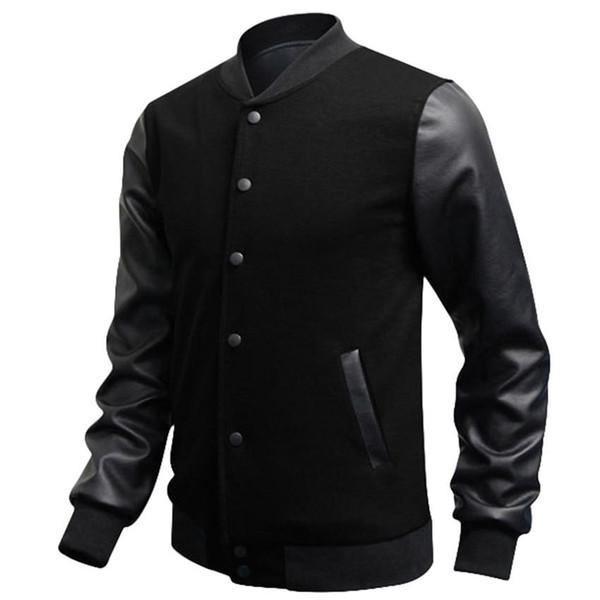 Wholesale- Men Sweatshirt Slim Fit Casual Fashion Baseball Jackets PU Leather Sleeve Jacket Men Bomber Jackets Clothing 5 Color