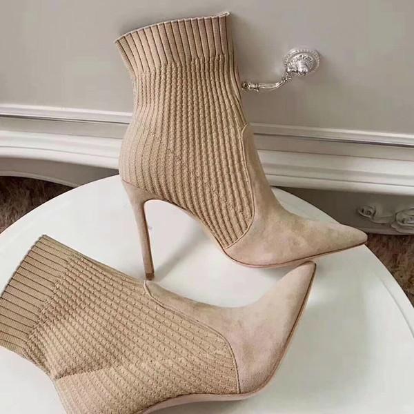 2018 Neue Mädchen Mode Qualität Design Kleid Schuh Spitz Zehe Beige Sandale Absatz Pumps hohe schwarze Dinner Party sexy Heels Größe 40 39 # GR88