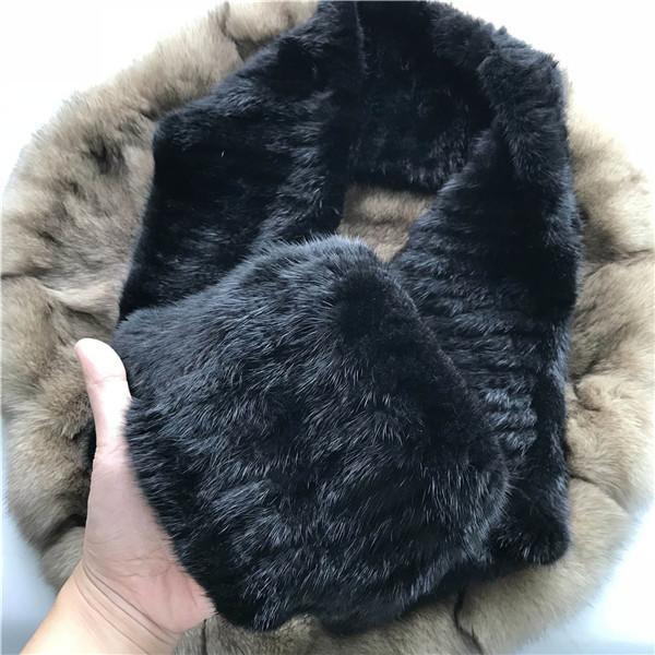 Black 100% Real Genuine Fur Scarf Scarves Shawl Winter Warm Knited Wrap Collar Neck Warmer