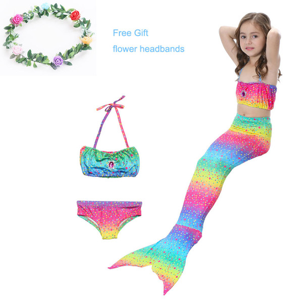 0d14f5f0c7f4f Little Girls 3 Pcs Mermaid Tail for Swimming Mermaid Bathing Suits Swimsuit  Bikini Set 3-