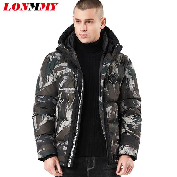 LONMMY 4XL Winterjacke Herren Mantel Wram Parka Kleidung Fashion Casual Sportswear Jacke Herren Long Coats Stil Camouflage