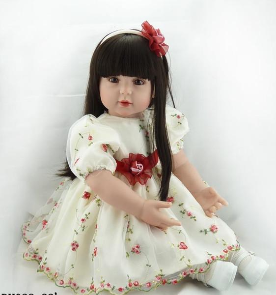 60 cm Suave Cuerpo de Silicona Reborn Baby Doll Toys 24 pulgadas Vinilo Princesa Toddler Girl Alive Bebe Girl Bonecas regalo de cumpleaños