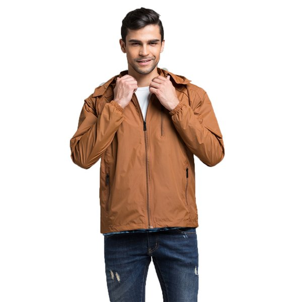 Autumn New Men Brand Clothing Sportswear Men Fashion Thin Windbreaker Jacket Zipper Coats Outwear Hooded Men Jacket L -4xl