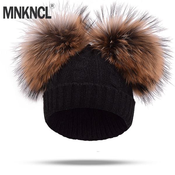 Real Mink Fur Pompom Hat Women Winter Caps Knitted Wool Cotton Hats Two Pom Poms Skullies Beanies Bonnet Girls Female Cap D18110102