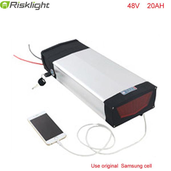 US UE No Tasse potente bici elettrica della batteria 48V 20Ah Batteria al Litio 48V 1000W posteriore Rack batteria con cella 30A BMS per Samsung