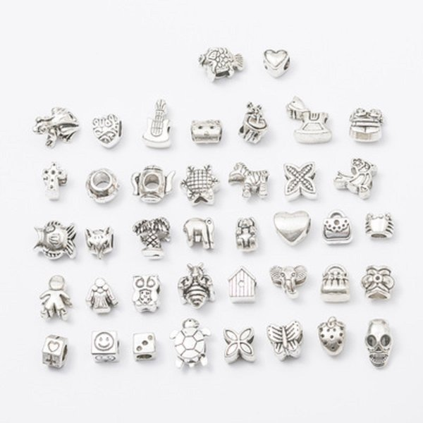 40PCS Mix 40Style Alloy Hole Beads Pendant Charms Fit Bracelet Necklace Loose Beads Jewelry DIY Accessories DHL FREE