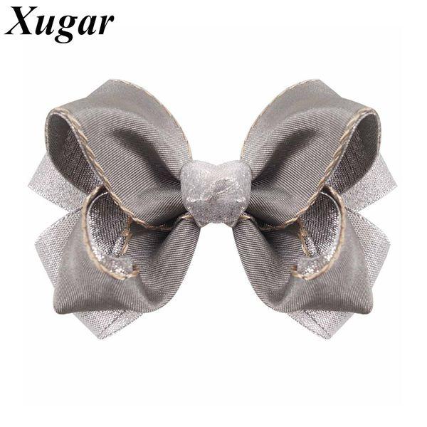 2 Pcs/lot 5'' Solid Grosgrain Ribbon Silver Organza Hair Bow Handmade Boutique Kids Girl Hair Clip Children Accessories
