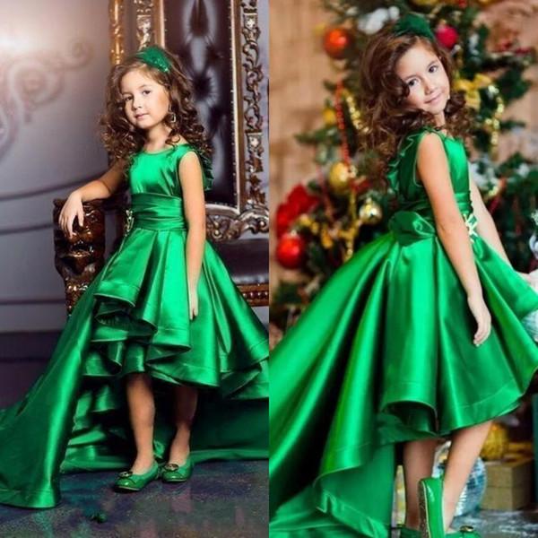 Verde esmeralda alta baixo meninas pageant vestidos 2019 babados uma linha crianças flor festa de aniversário desgaste encantador criança comunhão vestidos personalizados