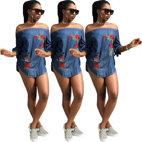 2018 Women Sexy Off Shoulder Floral Mini Dress Embroidered Rose Light Blue Denim Lace Up 3/4 Sleeve Slash Neck Casual Strapless Dress