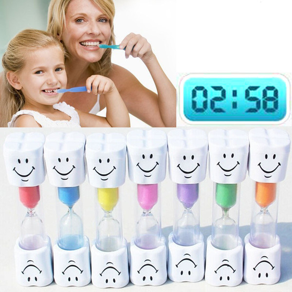 1pc Sand Clock 3 Minutes Viso sorridente Clessidra Decorativo Famiglia bambini Spazzolino Timer Sand Clock Regali di compleanno # 11020