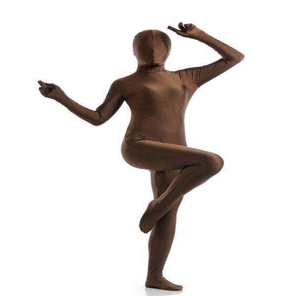 (SCF035) Brown Spandex Nylon Lycra fetiche Zentai traje completo cuerpo Unisex segunda piel transparente apretado