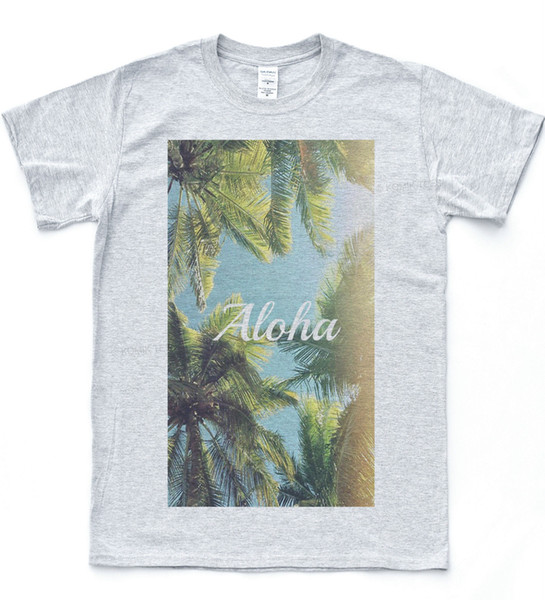 ALOHA Palms T Shirt Summer Chill Beach Tumblr Tee Skater Quote High In Topdenim Clothes Camiseta T Shirt T Shirts Deals Super Cool T Shirts From