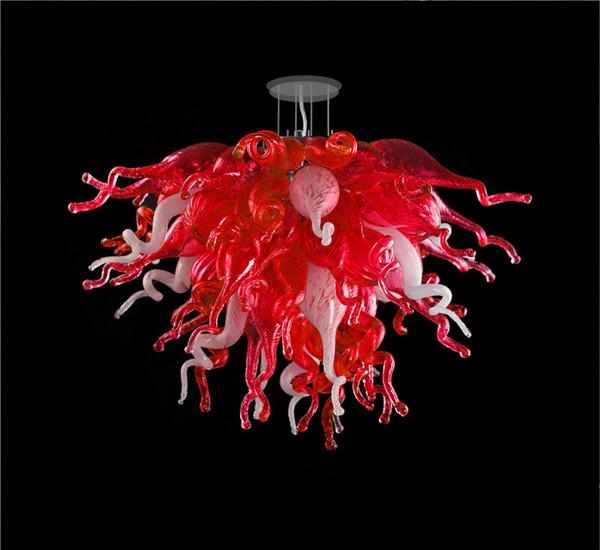 Moderne kronleuchter wohnzimmer esszimmer kunst dekor pendelleuchte mundgeblasenem glas kronleuchter licht billig rot und weiß kristall kronleuchter
